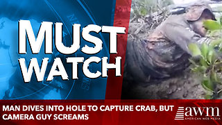 Man Dives Into Hole To Capture Crab, But Camera Guy Screams - Video