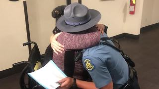 Woman reunites with MHP trooper who saved her