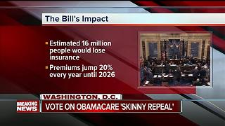 Senate on Capitol Hill voting on 'skinny repeal' bill - Video