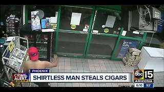 Man threatens Phoenix clerk with knife, steals cigar display - Video