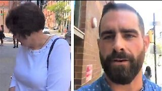 Democrat state rep Brian Sims harasses old lady outside abortion clinic