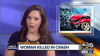 Woman killed in single car crash in Phoenix, man also hurt - Video