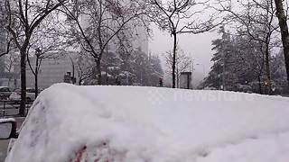 Heavy snow falls across Spain