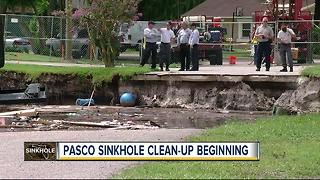 Sinkhole clean up expected this week - Video