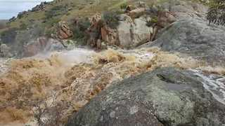 Mannum Waterfalls Rushes With Water Following Severe Weather - Video