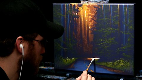 Acrylic Landscape Painting of a Forest Road at Sunset - Time Lapse - Artist Timothy Stanford