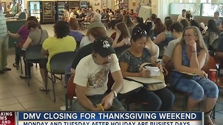 DMV closures to affect services over holidays