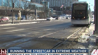 Streetcar officials halt service during weekend snow - Video