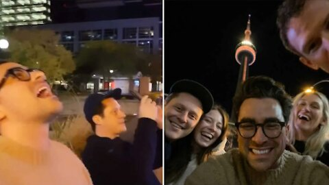 The 'Schitt's Creek' Cast Went To See The CN Tower Lit Up In Gold & They Were Starstruck