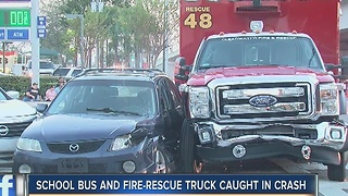 School bus, fire-rescue truck part of collision - Video