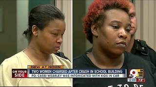 2 charged after crash in school building