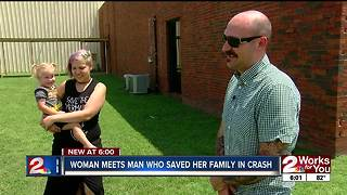 Woman thanks man who saved her family in crash