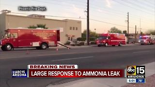 Ice warehouse in Phoenix evacuated for ammonia leak - Video