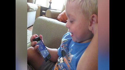 Tot Boy Can't get Enough of Funny App!