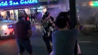 VIDEO: Close up shot of protesters sprayed with pepper spray