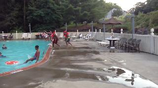 Teen Girl Fails At Jumping In The Pool - Video