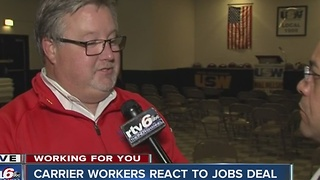 Workers react to Carrier jobs deal that will save over  700 jobs - Video