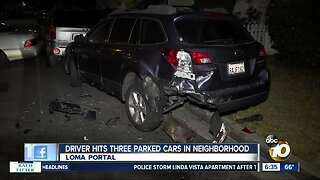 Driver crashes into parked vehicles in Loma Portal
