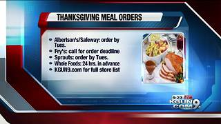 Tucson-area grocery stores, restaurants still accepting Thanksgiving orders - Video