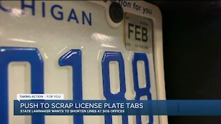 Push to scrap license plate tabs