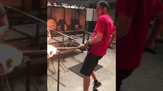 Glassmakers Cast Hot Glass With Swirl of Color - Video