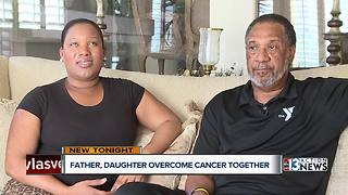 Father and daughter celebrate being cancer free together - Video