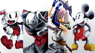 Drawing Various Video Game And Cartoon Characters - Compilation