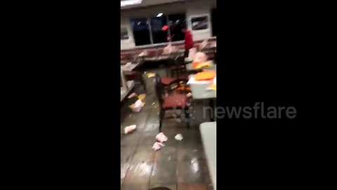 Trash strewn across Houston fast food restaurant after epic high-school food fight