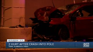 2 hospitalized after car crashes into pole near Priest and Alameda drives in Tempe