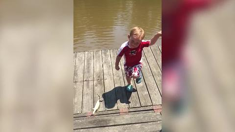 Adorable Toddler Boy Dances After He Catches A Fish