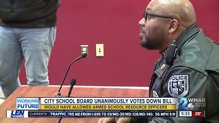 Balt. City School Board votes down bill to arm school police