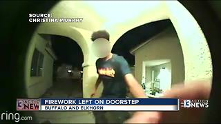 'Ding Dong Ditch' turns dangerous when teen throws firework on porch - Video