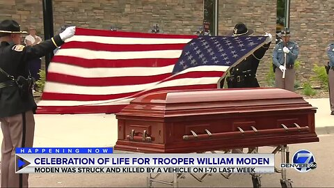 CSP troopers salute casket of Trooper William Moden after celebration of life