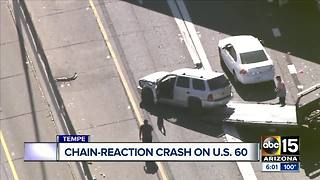 Crash involving semi-truck and several other cars blocks US60 - Video