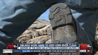 Brother, sister and team work hard to keep Kern River clean - Video