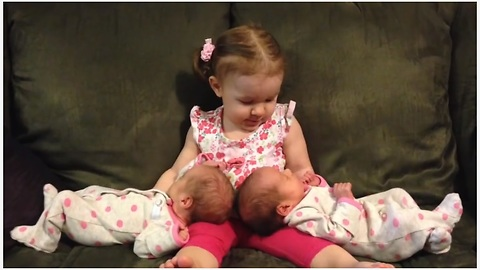 Excited Toddler Meets Her Twin Baby Sisters