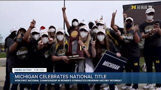 Michigan celebrates women's gymnastics national title