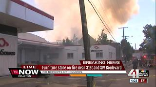 Three-alarm fire engulfs furniture warehouse on Southwest Boulevard near downtown KC - Video