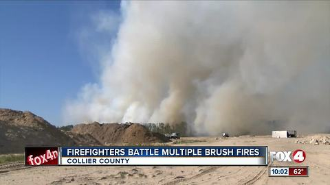 Wind kicks up fires in Collier