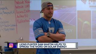 Lions punter Sam Martin helps spread the work on solar energy - Video