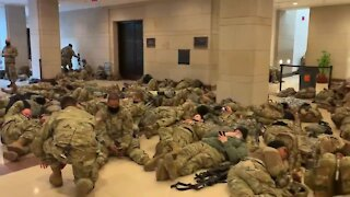 Military Occupation of Washington DC - National Guard Troops Sleeping Inside U.S. Capitol