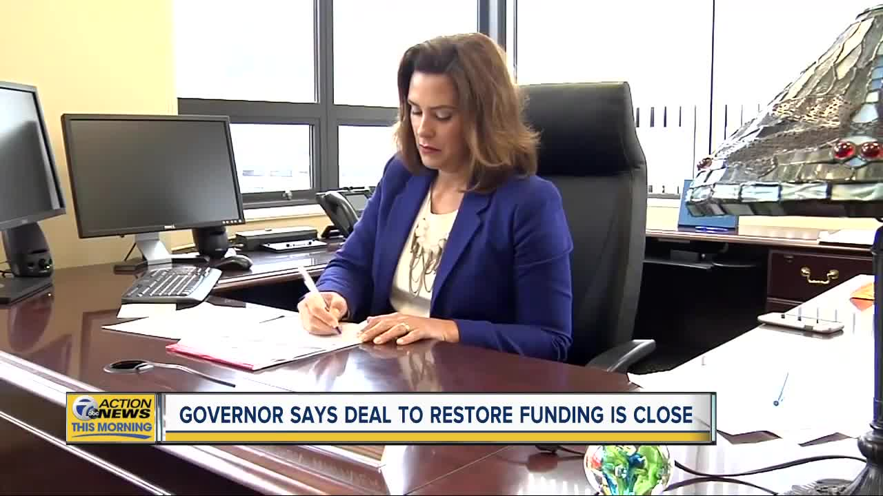 Governor Whitmer says deal to restore funding is close