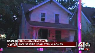 Family of 3 breaks window to escape house fire in east KCMO