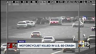 Motorcyclist killed in US 60 crash - Video
