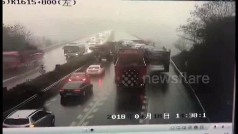 Lorry driving in wrong direction turns around to cause massive pile-up