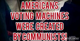 Americans VOTING WITH MACHINE DESIGNED BY COMMUNISTS