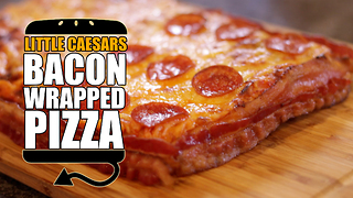 Little Caesar's bacon wrapped deep dish pizza recipe remake - Video