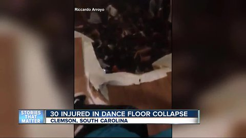 Dozens hurt after floor collapses at party