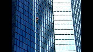 French Spiderman Climbs Totalfina Skyscraper - Video