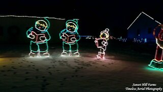 Amazing Christmas Light Display At Sunset Hill Farms Drone Footage Must See.
